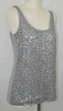 J Crew Collection NEW Sequined Starland Tank Size 4 Silver Gray Beads Sequins