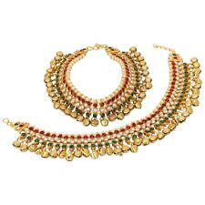 Tone Multi-Color Kundan Pearl Jewelry Indian Bollywood Anklet Payal Fashion Gold