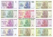 Zimbabwe 1 Dollar to 10 Trillion Dollars Set of 12 Banknotes 12 PCS UNC