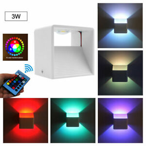 RGB Cube LED Wall Lights Modern Up Down Sconce Lighting Fixture Lamp with Remote