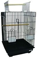 Open Top Small Parrot Bird Cage Color: Black