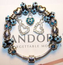 1 DAY SALE Authentic Pandora Silver Bracelet with European Charms Beads Hearts