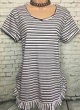 BNWT NEXT 12 black white stripe longline short sleeve cotton tunic top frill hem