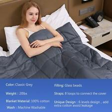 Cool Weighted Blanket 60x80 In 20lb 170-230lb Insomnia Stress King Size Bed