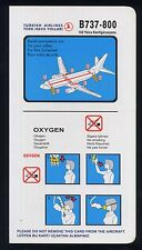 TURKISH HAVA YOLLARY Airlines B 737 800 Airline SAFETY CARD airways ee e530