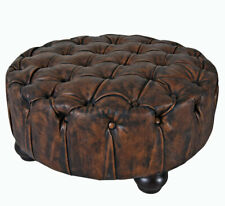 Vintage Pouf Stool Faux Leather Sitting Stool Ottoman 72cm Coffee Table Tray
