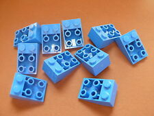 Lego 10 pieces bleues inclines inversees / 10 blue slope inverted 33° 2 x 3