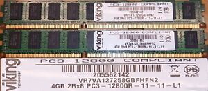 8GB Memory DIMM DDR3 1600Mhz PC3-12800R ECC Registered 2x4GB 240 Pin