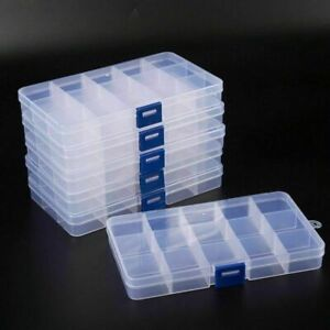 6 Pack 15 Grids Plastic Organizer Box Clear Storage Container Cases With Divider