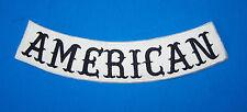 AMERICAN BOTTOM ROCKER SIDE ROCKER PATCH WHITE WITH BLACK LETTERS FOR VEST JACKE