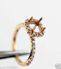 14k Rose Gold French Pave Halo 0.30Ct Diamond 6.5 mm Semi Mount Engagement Ring
