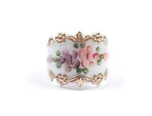 Vintage Vargas Ring Guilloche Enamel Sterling Silver 8.4g