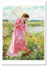 PRETTY YOUNG GIRL in pink dress Sun Umbrella Garden by Averin New Postcard