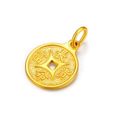 Pure Solid 999 24k Yellow Gold Pendant Lucky Carved Coin Pendant/  2g