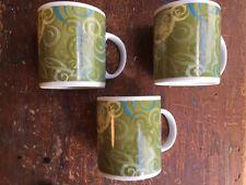 3 Starbucks Mugs 1999 Green & Blue Aroma Swirl 20 oz Large Coffee Cups Rare
