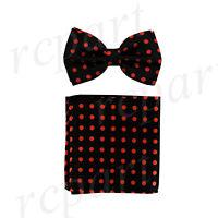 New formal Men's Pre-tied Bow Tie & Hankie Set Black_Orange polka Dots wedding