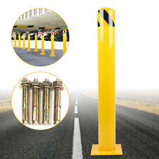 """New listing New Safety traffic road pile 24""""H 4.5""""D Safety Bollard Steel Post Barrier Yellow"""