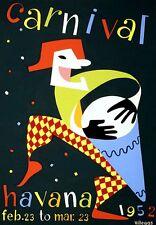 A3 Poster Artistico da viaggio carniival Havana 1952 Cuba Stampa