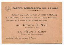 PARTITO DEMOCRATICO DEL LAVORO, INVITO AL TEATRO ADRIANO, ANNI '50     m