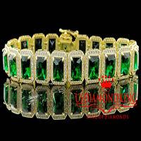 "14K Yellow Gold On Sterling Silver Royal Lab Diamond Green Emerald Bracelet 7.5"""