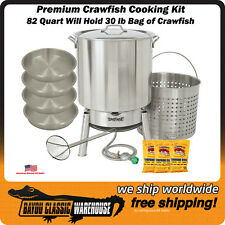 Crawfish Cooking Kit 82 Quart Premium Stainless Steel Hold up to a Bag of 30 Lbs