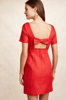 New Anthropologie Bow-Back Shift Dress by Maeve Red strech $148 sz 2 4 6 8 12