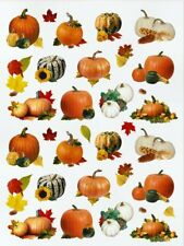 "3/4""- 2 1/4"" Lovely Fall Thanksgiving Pumpkin Leaves Photo Stickers Usa Made #48"