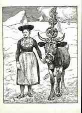 ABSCHIED von der ALM - Max BERNUTH - Bayr.Gmain - Strichätzung 1941  HEYDER-Verl