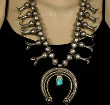 Old Pawn Vintage NAVAJO Sterling Natural Turquoise Squash Blossom Bead Necklace