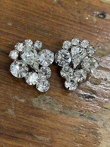 rhinestone clip on earrings Rhinestone Cluster