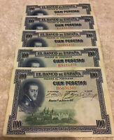 Lot Of 5 X Spain Banknotes. 100 Pesetas. Madrid 1925. Vintage Collection