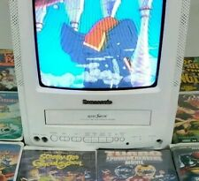"VTG TV VCR COMBO Pv- C930W 9"" CRT VHS Radio Road Show Omnivsion White 14 Movies"