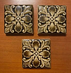 "Three 3"" Art Tiles Providential Tile Works Green Botanical Antique Victorian"