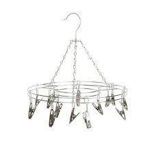 Stainless Steel Drying Hanger Rack Laundry Sock Bra Baby Kids Clothes 15 Clips