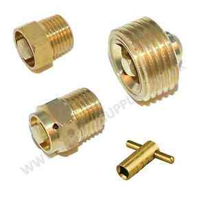 "Radiator Bleeding Valves & Key Quality Brass 1/8"" 1/4"" 1/2"" BSP Plumbing Tool"