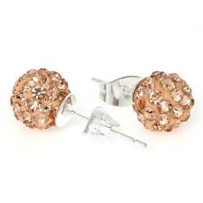 8mm Topaz Rhinestones Crystal Fireball Disco Ball Pave Bead Stud Earrings
