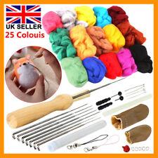 UK 25 Colour Wool Felt Needles Tool Set + Needle Felting Mat Starter DIY Kit New