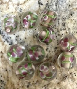 10 TAN BEIGE PURPLE MAUVE PINK FLOWER  ROUND LAMPWORK Glass Beads12mm Jewelry