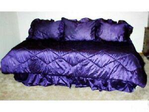 5PC Purple Daybed Comforter Bed Skirt 3 Ruffled Sham Mach Wash USA MADE REG $135