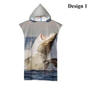 Shark Sea Adult Teen's Blue Hooded Poncho Towel Spa Surf Swim Pool Beach Gift