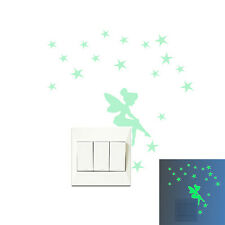 Fairy & Stars Luminous Switch Wall Sticker Cartoon Kid Bedroom Home Decor S&U