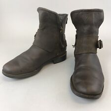 Uggs 37 UK4.5 Brown Leather Ankle Zip Up Buckle Block Heels Distressed Boots