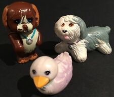 3 Vintage 1993 Kenner Littlest Pet Shop Figures Duck & 2 Dogs