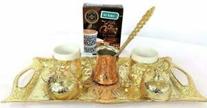 Turkish Coffee Set Zamak Tray Coffee Cups + Coffee Pot + 100gr Hazelnut Coffee