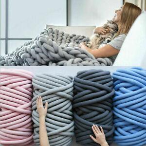 Luxury Large Soft Wool Chunky Yarn Knit Thick Blanket Hand-Woven Throw Sofa Rug