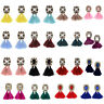 1 Pair Women Lady Elegant Tassels Rhinestone Crystal Ear Stud Earrings Jewelry