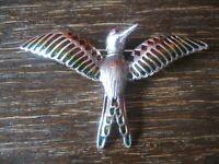 exklusive Vogel Kolibri Brosche 925er Silber Emaille enamelled Bird Brooch