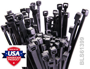 """1000 USA Made TOUGH TIES 11"""" inch 50lb Nylon Tie Wraps Wire Cable Zip Ties Black"""