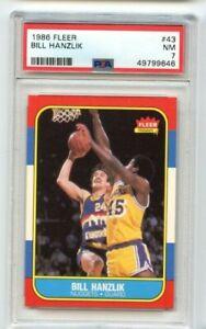 1986 FLEER BASKETBALL  #43  NEW LABEL BILL HANZLIK PSA 7