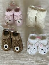 Carter's Newborn Infant Baby Girl Booties / Slippers 0-6M Lot Of 4
